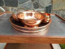 Vintage Coppercraft Guild Serving Tray And Bowl 8 Piece Set With Roly Polys 1960s