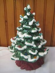 Vintage Ceramic Christmas Tree Lighted With A Dusting Of Snow Small Size