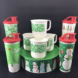 Tupperware Christmas 9 Piece Set 1 Cookie Canister, 4 Tumblers And 4 Mugs New