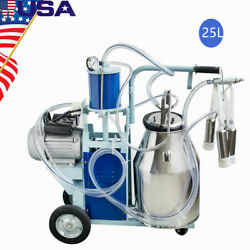 25l Electric Milking Milker Machine For Goats Cows Adjustable Vacuum Degree New
