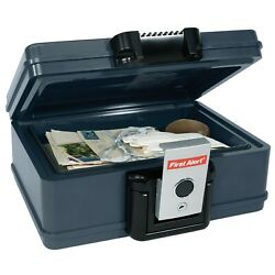 First Alert Water And Fire Protector Key Lock File Chest 0.17 Cubic Ft. In Gray