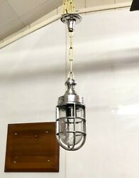 Nautical Industrial Aluminum Pendant/ceiling Light With Brass Chain Lot Of 10