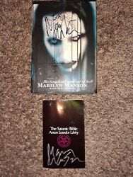 Rare Marilyn Manson Signed Autographed Satanic Bible + Hardcover Autobiography