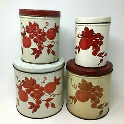 4 Piece Set Of Vintage Decoware Tin Canisters Apples Cherries Kitchen 1950's Red