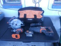 Ridgid 18v Cordless Tool Combo Kit W/battery And Charger