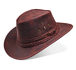 Cowboy Hat Western Real Leather For Mens And Womens Vintage Red Handmade Hat