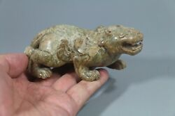 Han Dy. Old Chinese Green Jade Carved Beast Dragon Figure Small Statue