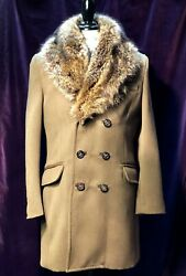 Dsquared2 Wool Double Breasted Fur Collar Coat Menand039s Size Eu 52 Us L