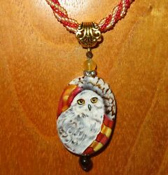Pendant Owl Hedwig Harry Potter Gryffindor Scarf Russian Hand Painted Stone Gift