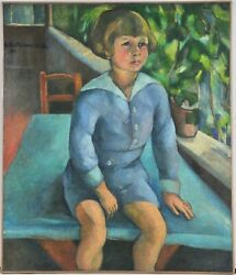 Portrait Of A Boy Siting On A Table Signed By Unknown Artist 1916