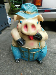 Vintage Jumbo Chalkware Pig Piggy Bank Large 22 X 15 Farmer Tongue Out Overall