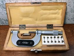 Fowler 1-2 Thread Pitch Micrometer W/ 6 Anvil Sets And Standard - Made In Poland