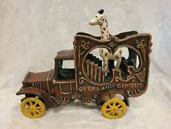 Antique Overland Circus Wagon Truck Cast Iron Delivery Van With Giraffe