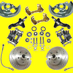 Gm Front Disc Brake Kit 2 Drop Spindle Drilled Slotted Brakes A F And X Body New