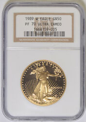 1989-w One Ounce Gold Eagle Ngc Pf-70 Ultra Cameo 59-005