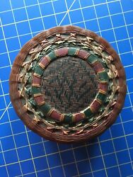 Round Vintage Hand Woven Painted Wicker Basket With Lid Painted Design