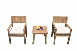 3pc Grade-a Teak Dining Set Giva Side Table 2 Veranda Arm Chairs Outdoor Patio