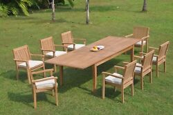 9pc Grade-a Teak Dining Set 122 Atnas Rectangle Table Leveb Stacking Arm Chair