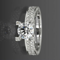 Diamond Solitaire And Accents Ring Round Shape Lady 18 Karat White Gold 3.09 Ct