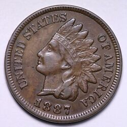 1887 Indian Head Cent Penny Choice Au+ Unc Free Shipping E797 Xcb