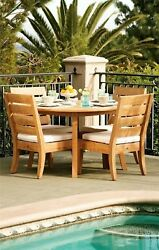 Atnas 5pc Dining 52 Round Table Armless Chair Set Grade-a Teak Outdoor New