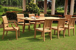 Lagos Grade-a Teak 9pc Dining 94 Rectangle Table 8 Chairs Set Outdoor Patio