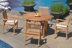 5pc Grade-a Teak Dining Set 48 Round Table 4 Leveb Stacking Arm Chair Outdoor