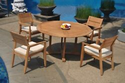 5pc Grade-a Teak Dining Set 60 Round Table 4 Vellore Stacking Arm Chair Outdoor