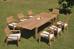 9pc Grade-a Teak Dining Set Caranas Rectangle Table Vellore Stacking Arm Chair