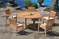 6pc Grade-a Teak Dining Set 60 Round Table 5 Leveb Stacking Arm Chair Outdoor