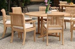 Giva 5 Pc Dining Grade-a Teak Set 60 Round Table 4 Arm Chair Outdoor Patio