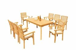9pc Grade-a Teak Dining Set 60 Rectangle Table 8 Hari Stacking Arm Chairs