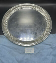 Antique Sterling Silver Round Serving Platter Tray 722 Grams
