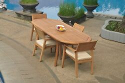 5pc Grade-a Teak Dining Set 94 Oval Table 4 Vellore Stacking Arm Chair Outdoor