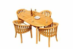 5pc Grade-a Teak Dining Set 94 Oval Table 4 Lenong Arm Chairs Outdoor Patio