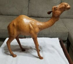 Leather Camel Figure Statue 19 Inch Nativity Xmas Decor Extra Large Collectible