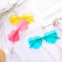 4 Pieces Heart Shaped Rimless Sunglasses Transparent Frameless Glasses Tinted Ey