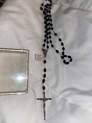 Vintage Rosary Black Beads Silver Tone Crucifix Made In Italy