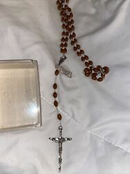 Vintage Rosary Brown Beads Silver Tone Crucifix Made In Italy
