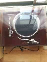 Denon Record Player Turntable Dp-80-cabinet Dk-2300 Twin Arm Energizing Working