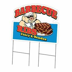 Barbecue Ribs 24 X 36 Yard Sign And Stake | Advertise Your Business | Stake I...
