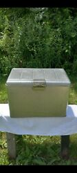 1950and039s Jc Higgins Sears Aluminum Soda Picnic Cooler Ice Chest