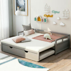 Twin To King Day Bed Wooden Bed Frame W/ Trundle Extending Platform Bed Modern