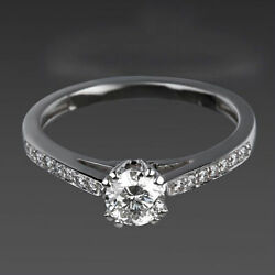 1.12 Ct Solitaire And Accents Diamond Ring Round Women 18 Karat White Gold