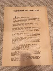Wwii Original Full Copy Japanese Instrument Of Surrender 1945 Poster 17x22 Each