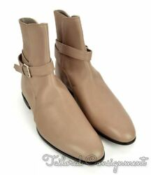 Kiton Beige Gray Leather Mens Shoes Strap Ankle Boots Nib 3,750 - Uk 8 / Us 9