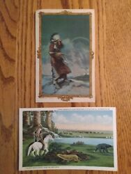 Early Native American Advertising Postcards Watching Invaderround Oak Stove
