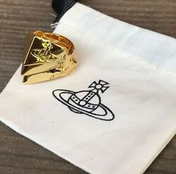 Vivienne Westwood Yellow Gold Triple Armor Knuckleduster Orb Logo Ring M