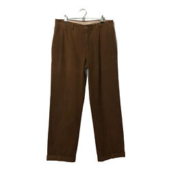 Brunello Cuchinelli Chino Pants Mens Size It 50 Pleated Brushed Cotton Brown