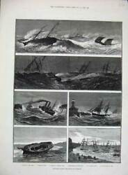 Old Antique Print 1882 Gale Lowestoft Storm Life-boat Pier Pakefield Ship 19th